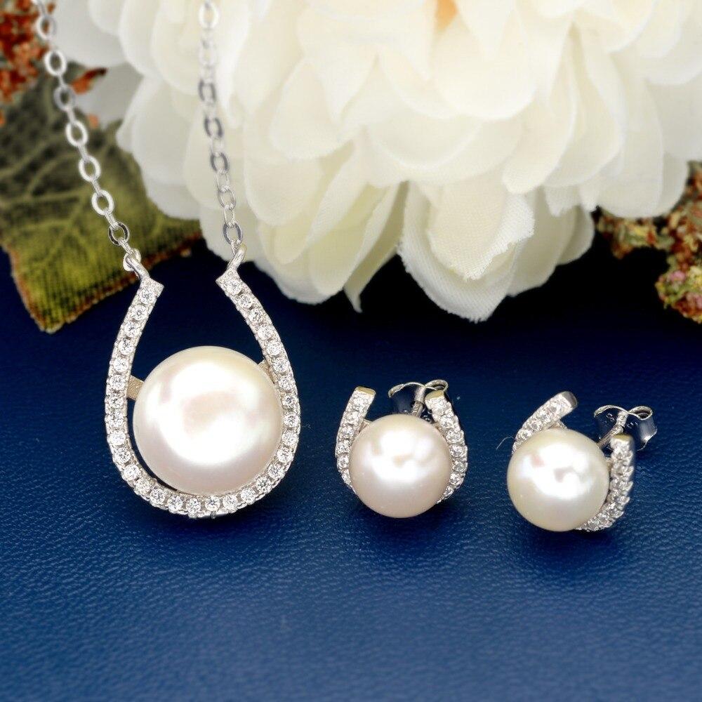 Tuliper Lucky Horse chaussure perle collier de mariée boucles d'oreilles ensemble 925 en argent Sterling cubique Zircon bijoux de mariage ensemble pour la fête