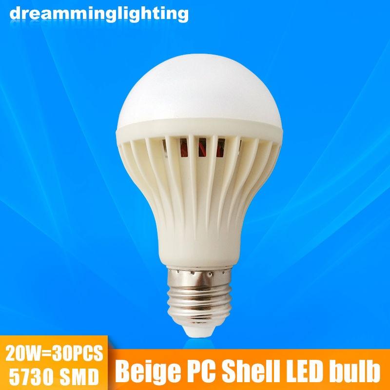 E27 Led Lamp 110v/220v Beige Plastic Shell Interior Living Lighting Life 3w 5w 7w 9w 12w 15w 20w Cold Warm White Bulbs