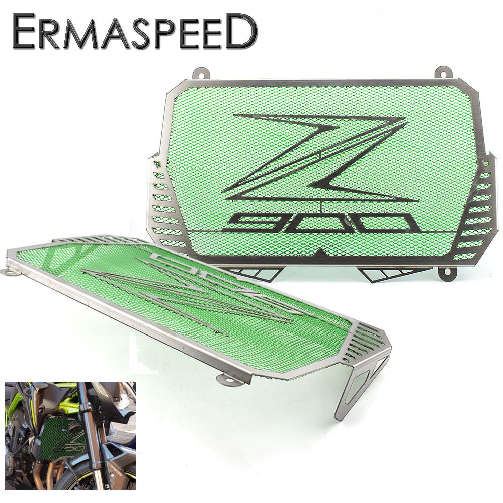 Motorcycle Stainless Steel Radiator Guard Cover Protector Green Black 2 Colors fit for KAWASAKI Z900 2017 motorcycle radiator protective cover grill guard grille protector for kawasaki z1000sx ninja 1000 2011 2012 2013 2014 2015 2016