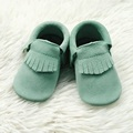 Green Suede Leather Infant Mocc Baby Moccasins