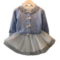 Printemps Automne Enfants Chandail Fille À Manches Longues Rose/Bleu Tricots Bowknot Belle Princesse Filles Cardigan Enfants Chandail 2-sept Années