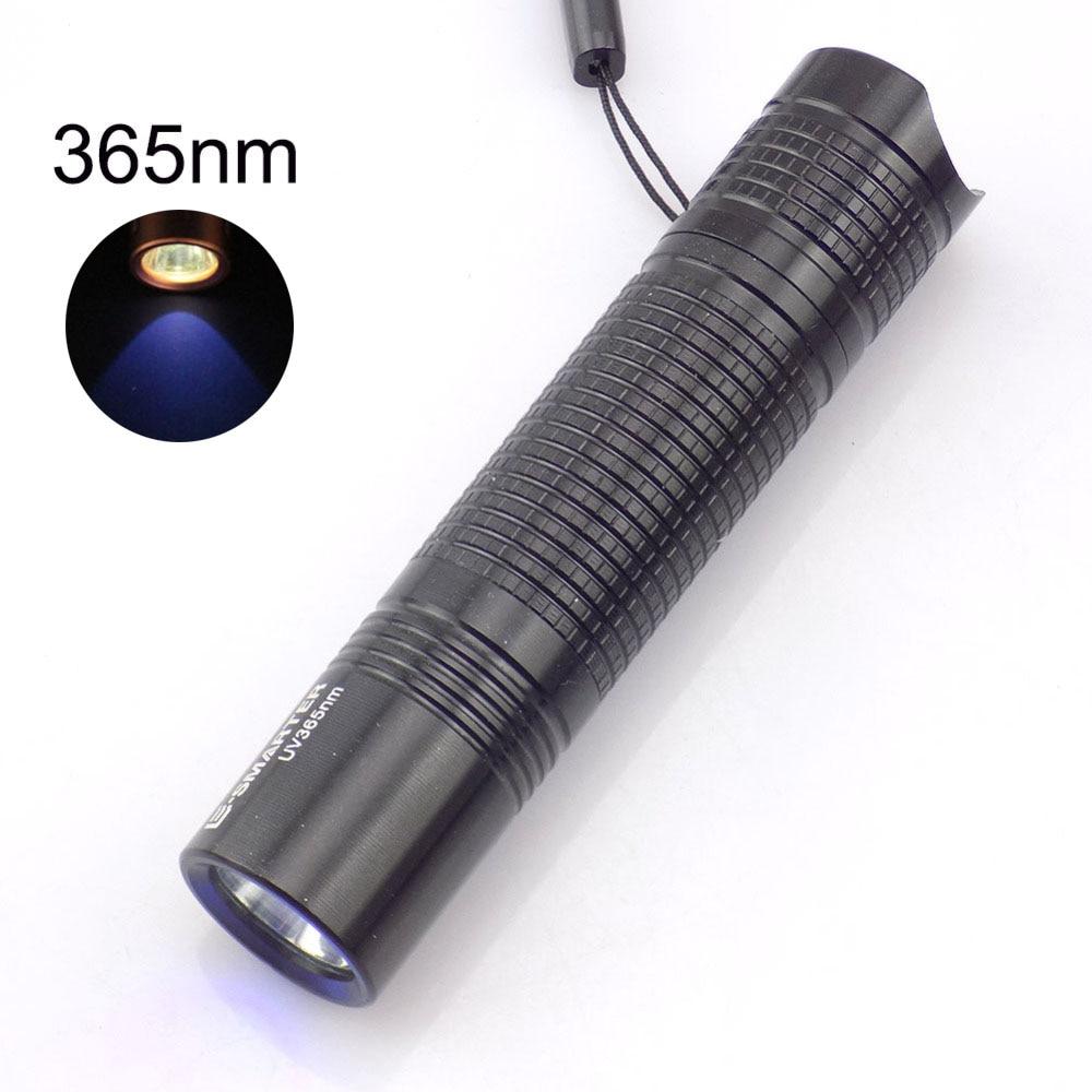 Uv Led zibspuldze 365Nm purpura krāsa violeta zibspuldzes gaismas spuldze Aa baterija Linternas Blacklight marķiera pārbaudei