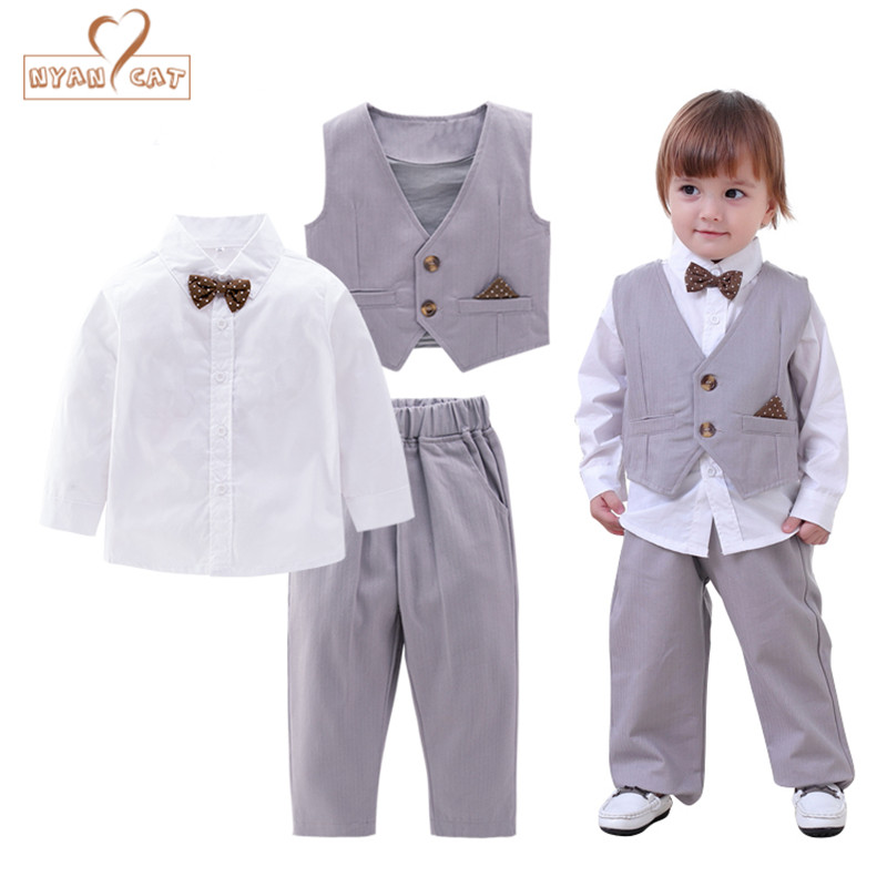 NYAN CAT Infant Baby Boy Formal Wear Shirt+Vest+pants 3pcs gentlemen bow tie clothes Kid toddler wedding party birthday outfits baby boy clothes suits vest plaid shirt pants 3pcs set party formal gentleman wedding long sleeve kid clothing set free shipping