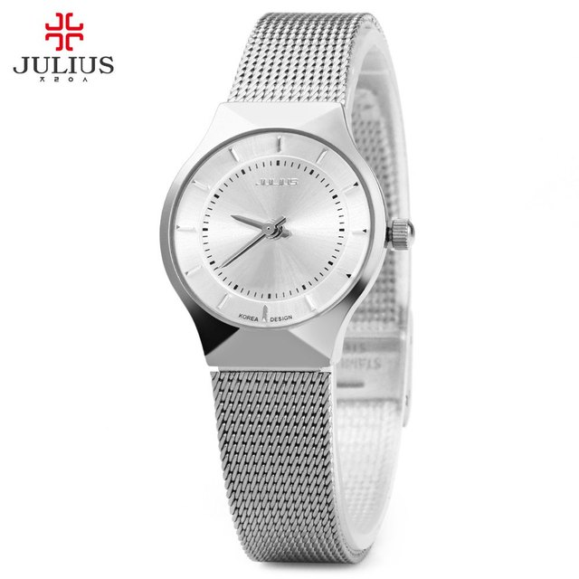 Julius Luxury Brand 2016 Women Dress Watch Ultra thin Full Steel Quartz Watches Ladies Waterproof Analog Wrist Watch reloj mujer