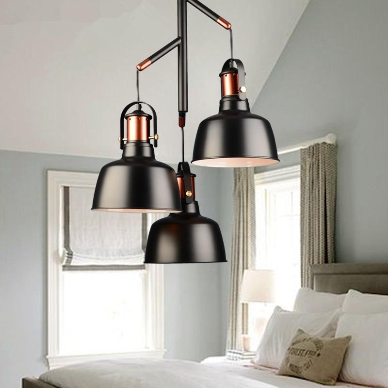 Suspension de cuisine luminaire trois abat-jour noir blanc couleur rétro loft suspension lampes pour salle à manger et bar style vintage