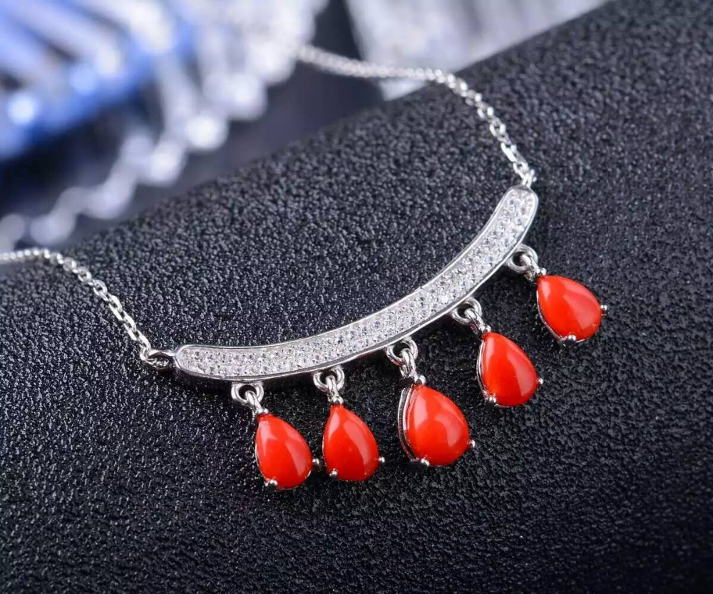 Natural precious coral Necklace natural gemstone Pendant Necklace S925 silver Fashion Elegant Smiling face water drop Jewelry retro style double layered smiling face hat pendant necklace for women