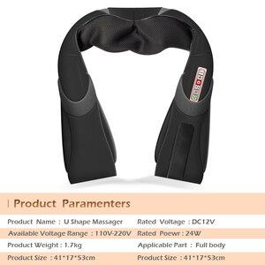 Image 1 - Home Car U Shape Electrical Shiatsu Back Neck Shoulder Body Massager Infrared Heated Kneading Car/Home Massagem
