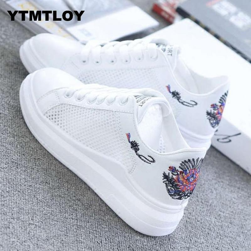 2019 Women Casual Shoes Summer Spring Fashion Embroidered Breathable Hollow Lace-Up Sneakers Air Mesh  Sport Shoes Woman