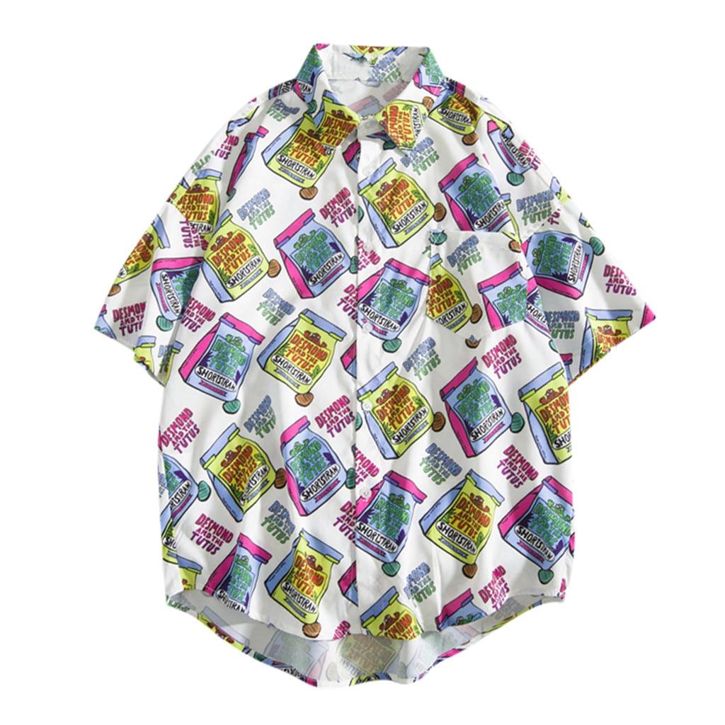 Womail 2019 Hot Mens Summer Fashion Shirts Casual Multicolor Pattern Printed Beach Tops Blouse Shirt Men Short Sleeve Loose
