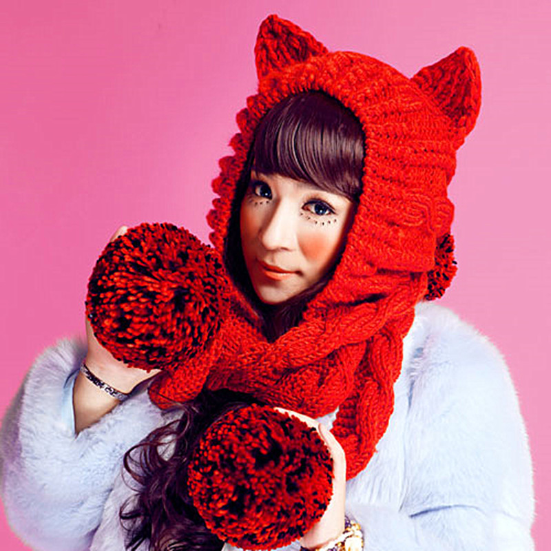 BomHCS Women's Thick Cable Handmade Knit Beanie Cat Ear Warm Hat with Soft Balls Pom