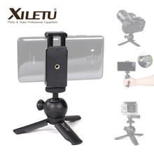 XILETU XS 1 Handheld Mini Desktop Stand Tabletop Portable Travel Tripod with Phone Holder for Smartphone Cell Phone DSLR Camera