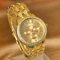 LinTimes kobiety zegarki na rękę 3 oczy moda biznes pasek stalowy Rhinestone delikatne zegarek kwarcowy kobiet zegarki w Zegarki damskie od Zegarki na