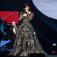 Popular 2018 Formal Celebrity Dresses A Line V Neck Embroidery Lace Long Evening Dresses Red Carpet