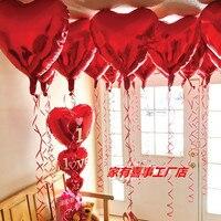 バレンタインのアルミ風船36インチ大赤いハート型ウェディングウェディングルーム装飾風船ハート弦11ピース/ロッ