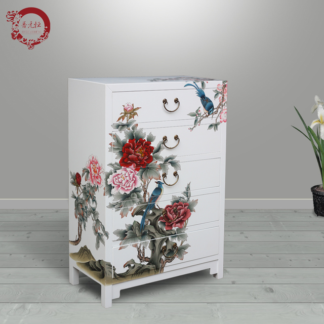 Jinyuan Heng New Chinese Hand Painted Wood Cabinets White Peony Flower  Painted Chest Of Drawers