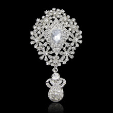 Luxury Women Wedding Brooches,Silver Rhinestone with Crystal Snowflake Water Drop Brooches For women wedding,Exquisite Gift