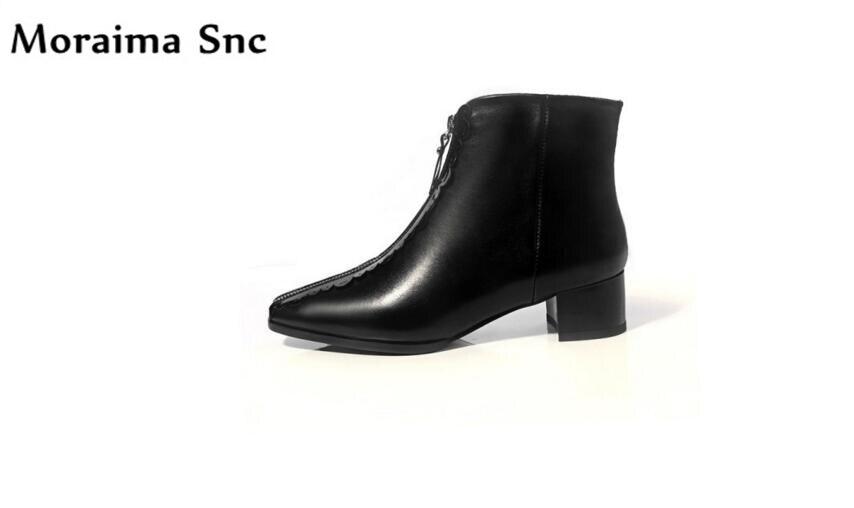 Здесь продается  Moraima Snc fashion women riding boots square heel platform zipper Ankle boots handmade PU leather 2018 high heel boots  Обувь