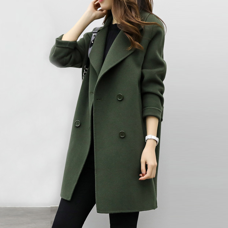 2018 New Womens Wool Blend Coat Turn Down Collar Slim Belt Double Breasted Coats Autumn Winter Elegant Female Overcoat 6Q0475