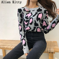 Alien Kitty Winter Women Sweater Pullover O Neck Knitted Tops Solid Fresh All Match Casual Leopard Sweet Fashion Female Sweaters