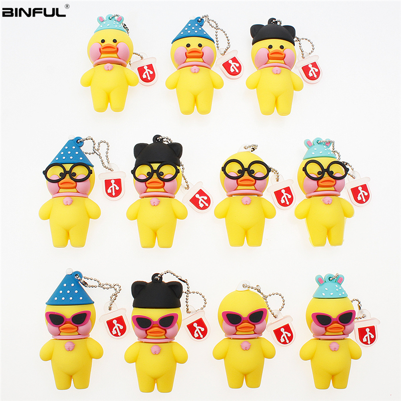 Image 2 - Pen Drive 128GB 64GB 32GB Usb Flash Drive Cute Cartoon Hyaluronic Acid Duck Flash Memory Stick Usb 2.0 High Quality Thumbdrives-in USB Flash Drives from Computer & Office