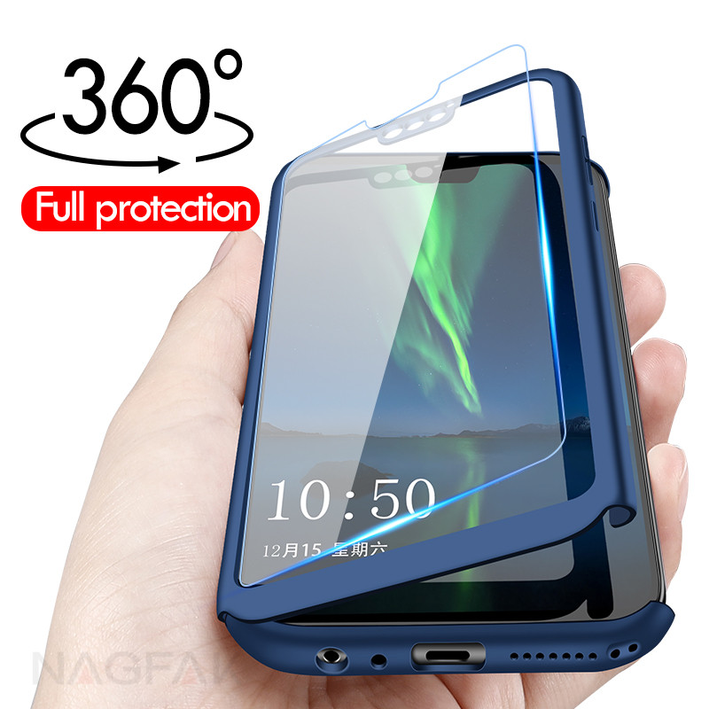 Bupuda Luxury 360 Full Cover Phone Case For Huawei Honor 7a Pro Case For Honor 7C 8X Case Protection Cover With Tempered Glass(China)