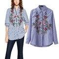 ZA listrado Blusas Bordados de Flores Bonito Turn-down Collar Blusa Mulheres Moda Manga Comprida Casual HI-LO Side Dividir Camisa Top