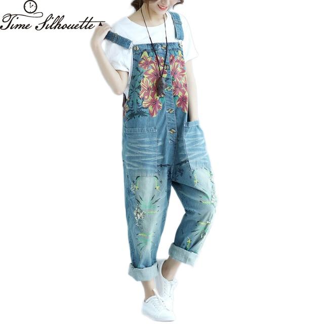 15f7bf6b595 Autumn Casual Denim Overalls Women Loose Ripped Jean Jumpsuit Boyfriend  Wide Leg Jeans Harem Pants Trousers