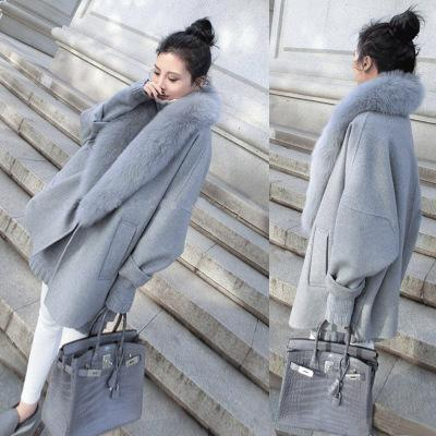 2017 Korean Version Autumn and Winter New Woolen Jacket Fashion Large Cocoon-Type Cape Gray Fur Coat Women Winter Coat