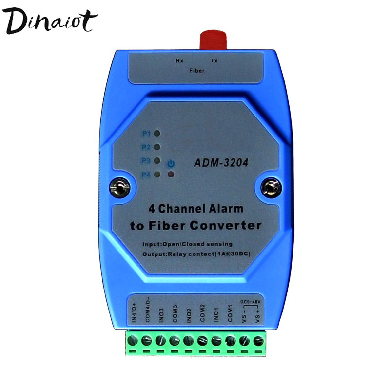Industrial 4 Channel Alarm To Fiber Converter TTL Input Relay Output DC Signal Amplification For Electric Fence Alarm System