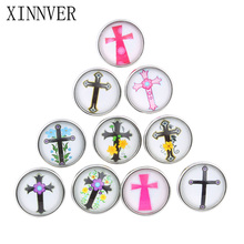 10pcs/lot Cross 18mm Snap Buttons Jewelrys Glass Cabochon Snaps Fit Snaps Bracelets Snaps Jewelry or necklace For Women ZB313