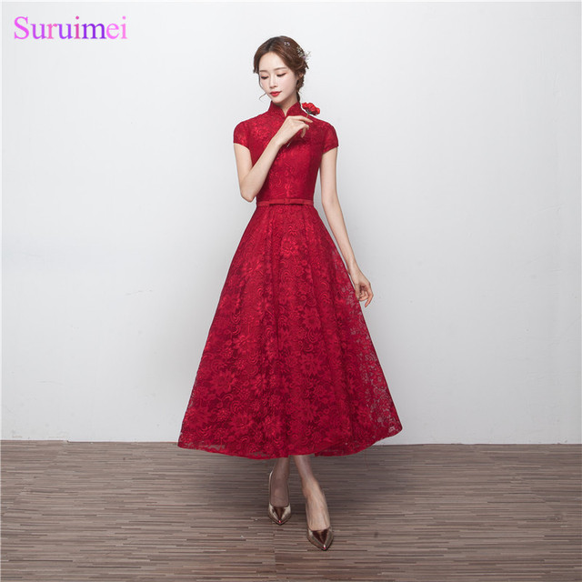 Tea Length Bridesmaid Dresses 2017 Robe Longue Femme Soiree High Neck  Burgundy Lace Short Sleeves Brides Maid Dress 856f01b5ae3d