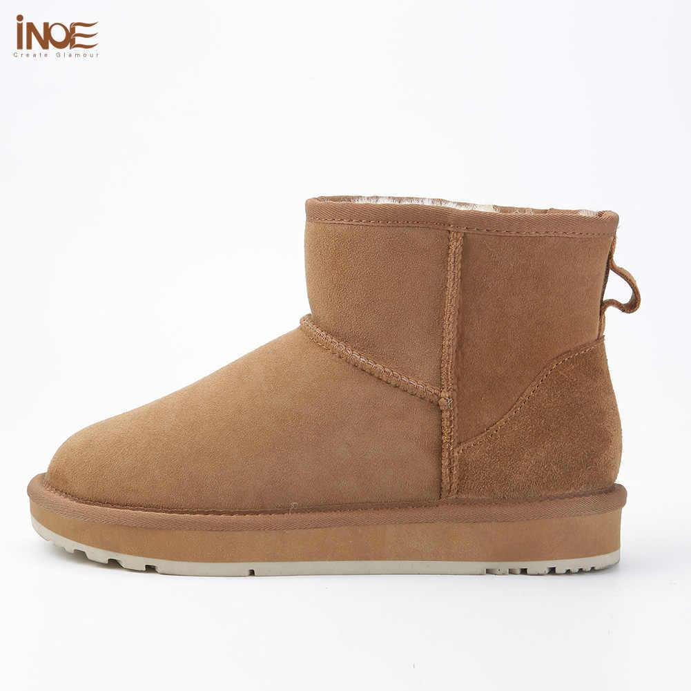 INOE klasik koyun derisi deri yün kürk astarlı kadın kışlık ayak bileği süet kar botları kadınlar için kısa temel kış ayakkabı siyah kahverengi