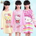 100% Algodón de Las Muchachas de los Pijamas de Hello Kitty Kids Pijamas Camisón de la Moda Niña Niño de manga Larga