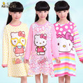 100% Cotton Girls Pajamas Hello Kitty Kids Pajamas Child Girl Fashion Nightgown Long-sleeve