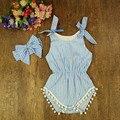 Azul y rosa a rayas mameluco del bebé recién nacido niñas pompón infantil trajes mamelucos del bebé linda del niño embroma la ropa