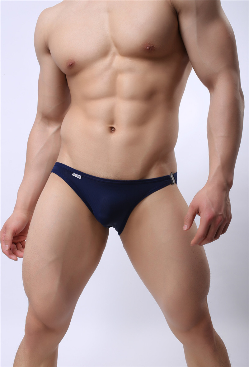 Mens Nylon Slip Small Mesh Breathable Briefs Low Rise Sexy Fashion Lock Buckle Men Bikini Underwear Briefs Brave Person 8
