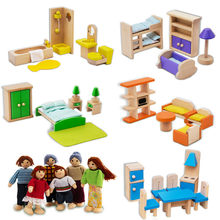 Wood Miniature Mini Dollhouse Baby Room Creative Furniture Cottage Cradle Bed Miniature Chair House Pretend Play Baby Gifts(China)