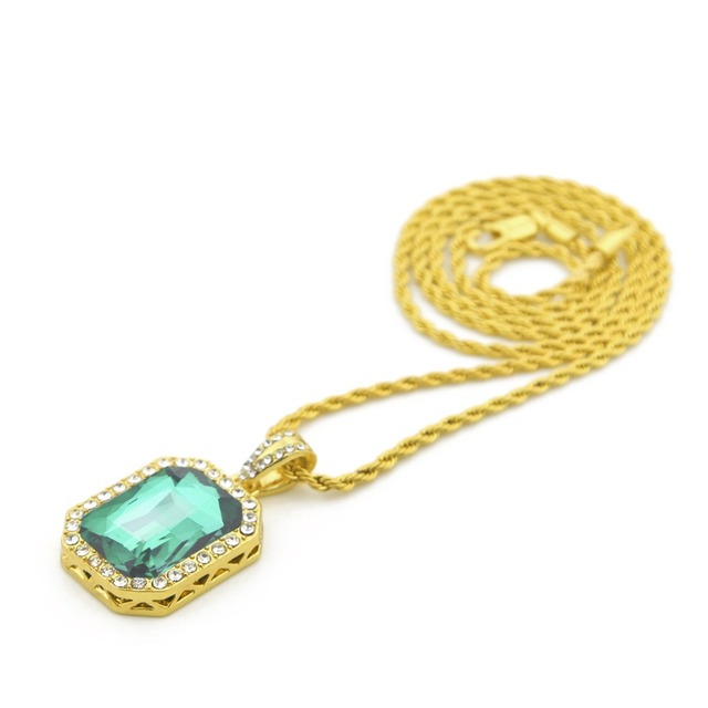 Vintage Golden Bling Iced Out Mini  Stone  Pendants Necklaces Men Women Charm Crystal Hip Hop Jewelry Gifts Chain 5