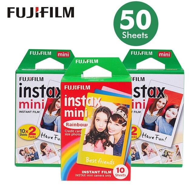 Oryginalna 50 arkuszy biała krawędź Fuji Fujifilm Instax Mini 8 Film dla 7s /9/11/70/90/25/liplay/link Instant aparaty papier fotograficzny