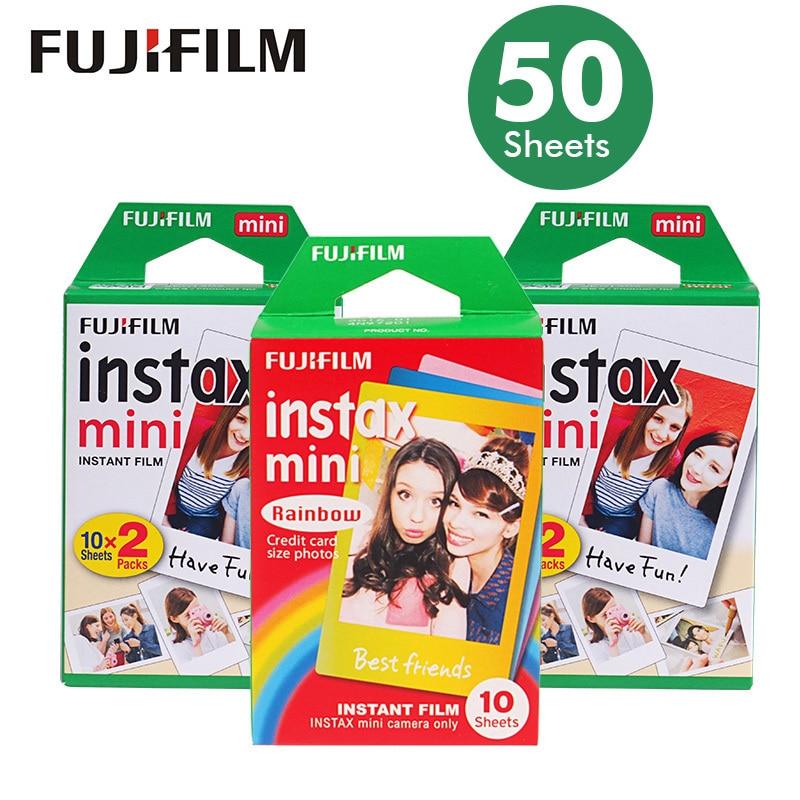 Véritable 50 feuilles blanc bord Fuji Fujifilm Instax Mini 8 Film pour 7 s/9/70/90/25 sp-1 300 caméras instantanées papier Photo