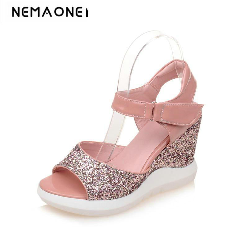 2018 new women wedges sandals women's shiny glitter platform sandals fashion summer shoes women casual shoes rhinestone silver women sandals low heel summer shoes casual platform shiny gladiator sandal fashion casual sapato femimino hot