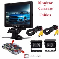 7 Inches Car Monitor Car Rear View Camera CCD IR LED Reverse Waterproof Night Vision Kit