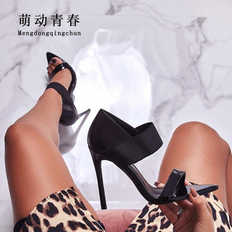 2019 Donne Pompe Punta Aguzza Sexy Degli Alti Talloni Dei Sandali In Tessuto Elasticizzato Scivolare Su Tacchi Sottili Scarpe Delle Donne Del Partito Dei Sandali Del Vestito Pompe