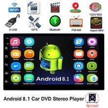 Android 8,1 2 Din Авторадио автомобиля Bluetooth WI-FI gps навигации 7 дюймовый универсальный для автомобиля ради обоих концах для подключения внешних устройств к автомобильной мультимедиа MP5 без DVD плеер