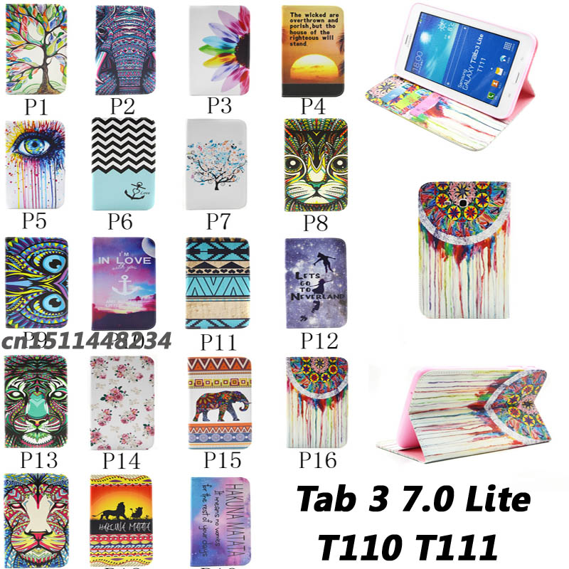 Hot sell Top quality Flower animal cartoon Card Slot pu leather Case Cover for Samsung Galaxy Tab 3 Lite 7 T110 T111 child case new animal cartoon tiger owl pu leather stand for apple ipad pro 9 7 case with card slot protector back cover stylus