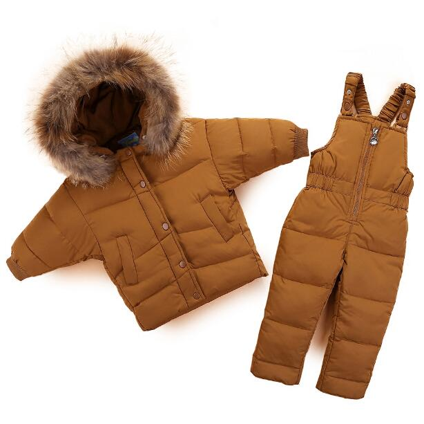 Winter Child Warm 90% White Duck Down Jacket + Strap Down Pants Baby Raccoon Big Fur Collar Down Set Kids Outdoor Ski Suits 100% new original laptop keyboard us version for macbook a1706 us keyboard replacement page 1