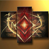 Hand painted Lover Dancer Wall Art African Flying Sunshine People Decoration Abstract Landscape Oil Painting On Canvas 3pcs/set