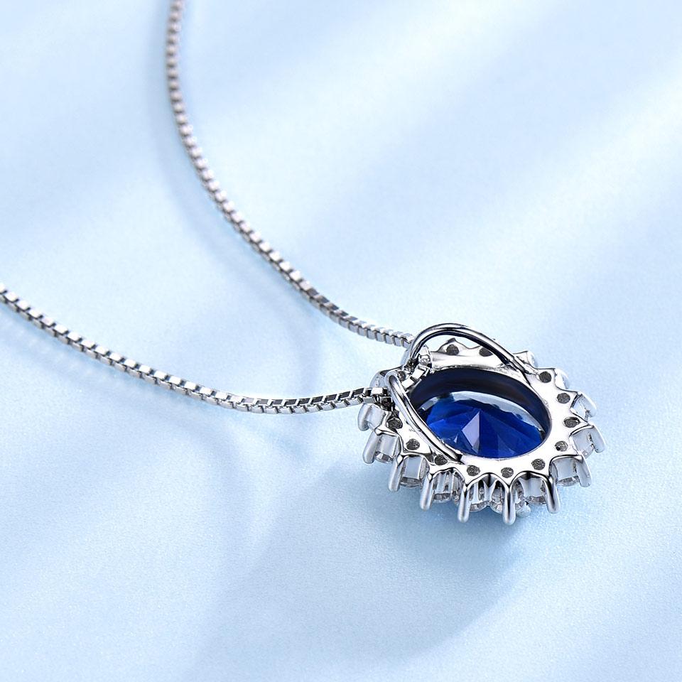 UMCHO 10 * 8mm Blue Sapphire Ogrlice i Privjesci 925 Sterling Silver - Fine nakit - Foto 3