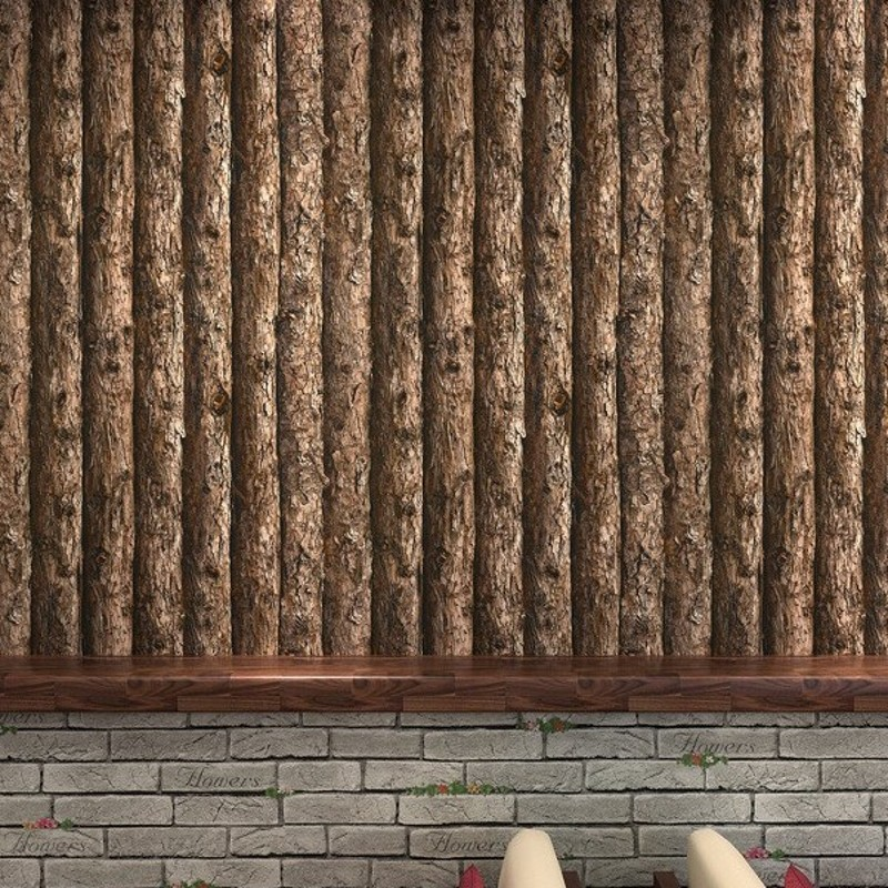 Free Shipping 3D Stereo Retro Bark Trees Wallpaper Features Wooden Stripes Hotel Corridor Restaurant Bar Internet Cafe Wallpaper flame trees of thika