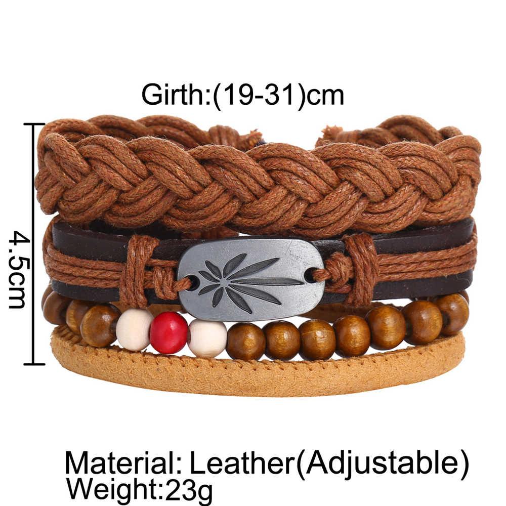 אם לי אופנה רב שכבתי עור צמידי סט עבור גברים נשים בציר נוצת חבל לארוג בעבודת יד חרוזים קלוע צמיד תכשיטים